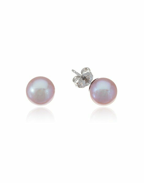 Thomas Laine Grayish Pink Freshwater Pearl Studs Wedding Earring photo