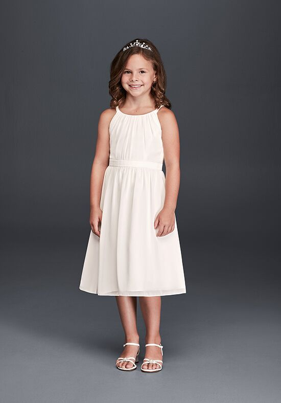 David's Bridal Flower Girl KP1330 White Flower Girl Dress