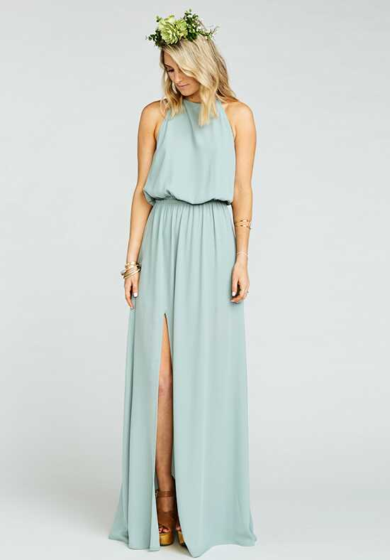 Show Me Your Mumu Heather Halter Dress - Silver Sage Crisp Halter Bridesmaid Dress