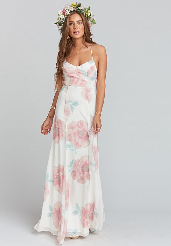 Show Me Your Mumu Godshaw Goddess Gown - Wedding Bells Floral Scoop Bridesmaid Dress
