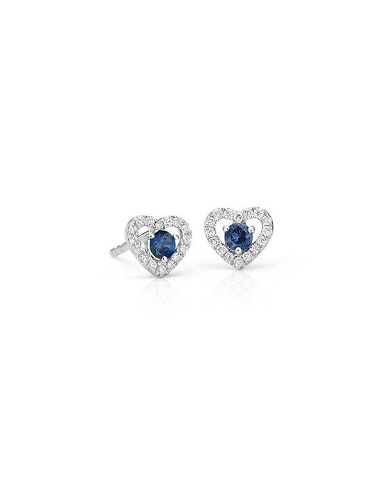 Blue Nile Petite Sapphire and Diamond Pavé Heart Stud Earrings Wedding Earring photo