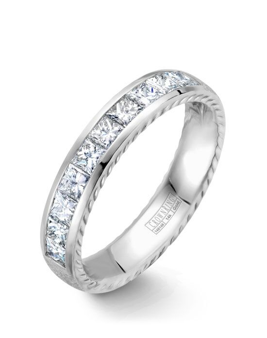 CrownRing WB-013RD45W-M6 White Gold Wedding Ring