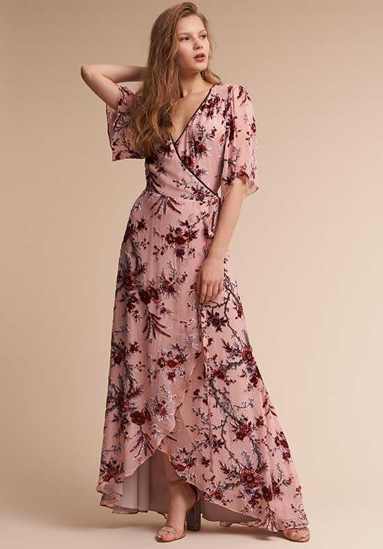 BHLDN (Bridesmaids) Floret Burnout Velvet Dress V-Neck Bridesmaid Dress