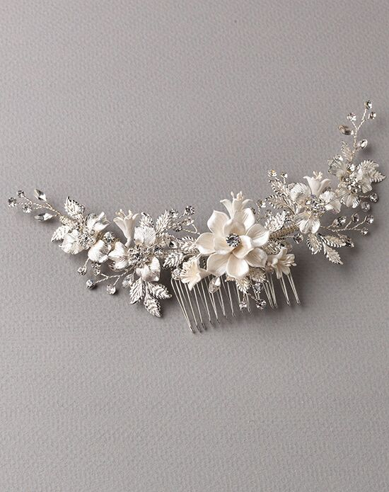 USABride Ivory & Silver Floral Back Comb TC-2303 Ivory, Silver Pins, Combs + Clip
