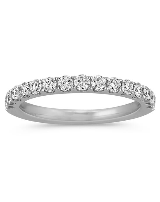 Shane Co. Pavé-Set Diamond Wedding Band White Gold Wedding Ring
