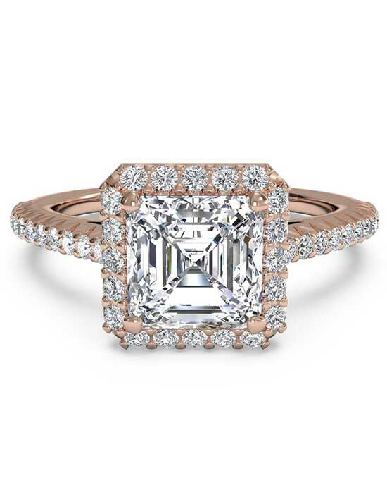 Ritani French-Set Halo Diamond Band Engagement Ring - in 18kt Rose Gold (0.21 CTW) for a Asscher Center Stone Engagement Ring photo