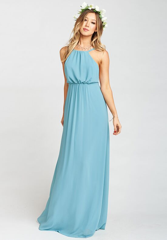 Show Me Your Mumu Amanda Maxi Dress - Poolside Chiffon Halter Bridesmaid Dress