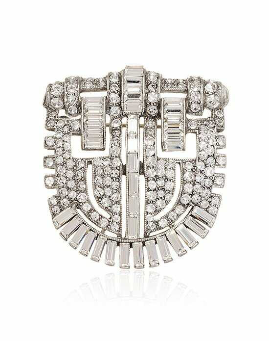 Thomas Laine Arabella Bridal Crystal Brooch Silver