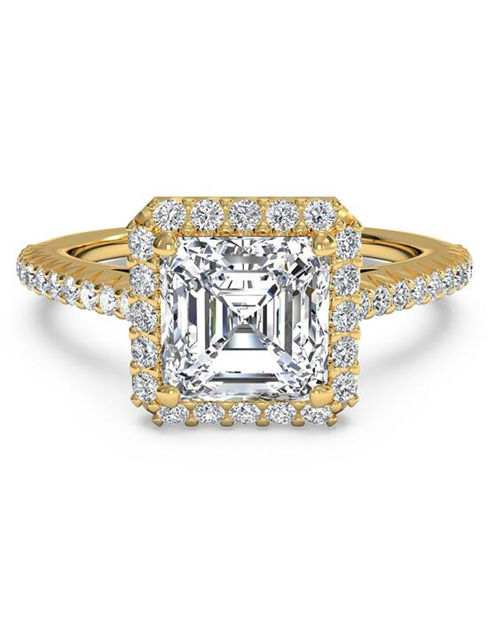 Ritani French-Set Halo Diamond Band Engagement Ring - in 18kt Yellow Gold (0.21 CTW) for a Asscher Center Stone Engagement Ring photo