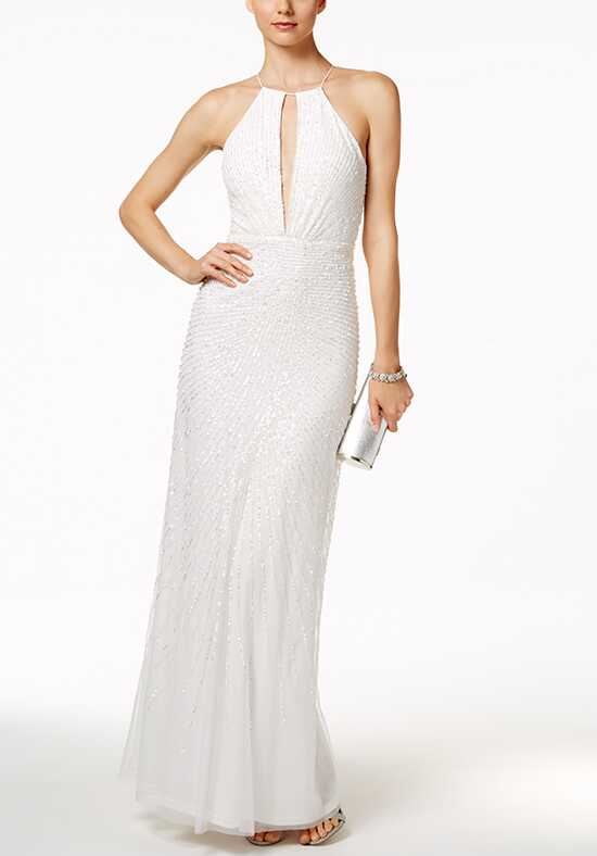 Adrianna Papell Wedding Dresses Adrianna Papell Sequined Open-Back Halter Dress A-Line Wedding Dress