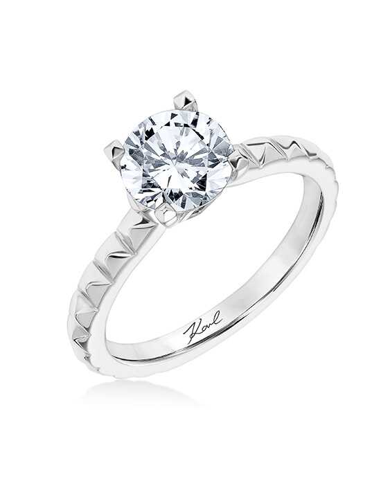 KARL LAGERFELD Unique Round Cut Engagement Ring