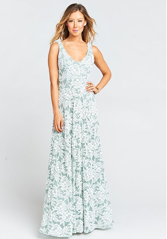 Show Me Your Mumu Jenn Maxi Dress - Lovers Lace Silver Sage V-Neck Bridesmaid Dress