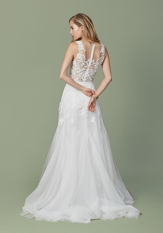 Christos Paisley Sheath Wedding Dress