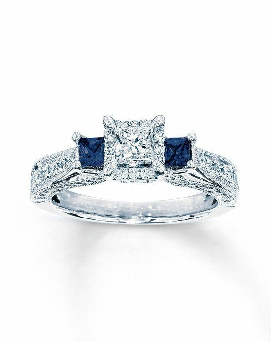 Kay Jewelers DIAMOND SAPPHIRE RING 1 CT TW PRINCESS CUT 14K WHITE GOLD Weddin