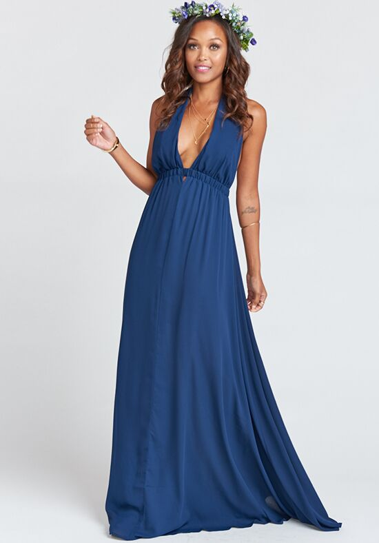 Show Me Your Mumu Luna Halter Dress - Rich Navy Crisp Halter Bridesmaid Dress