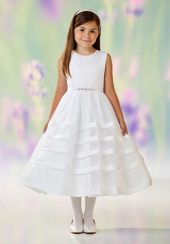 Joan Calabrese by Mon Cheri 118334 White Flower Girl Dress