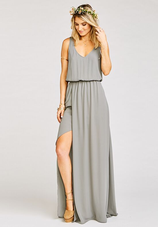 Show Me Your Mumu Kendall Maxi Dress - Soft Charcoal Crisp V-Neck Bridesmaid Dress