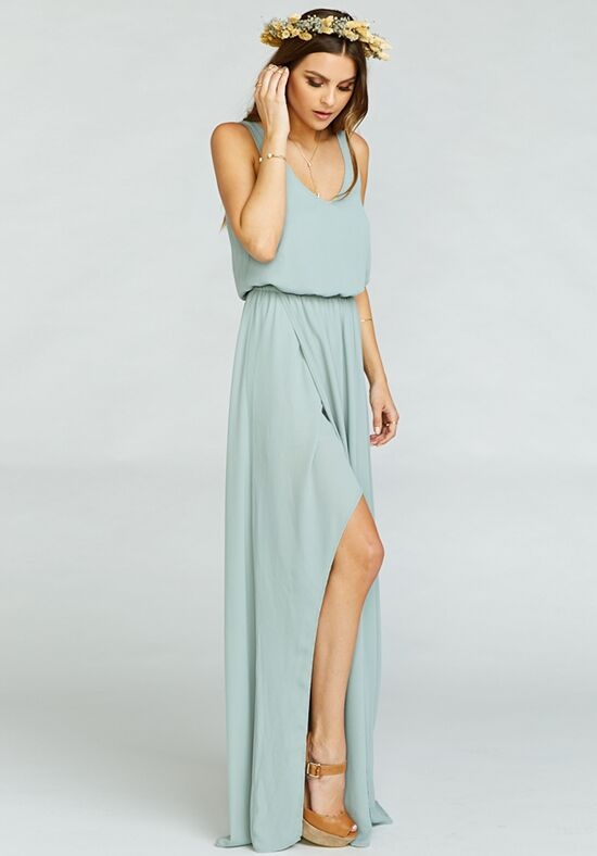 Show Me Your Mumu Kendall Maxi Dress - Silver Sage Crisp V-Neck Bridesmaid Dress
