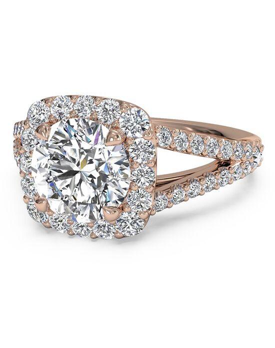 ritani cushion halo diamond v band engagement ring in 18kt rose gold - Ritani Wedding Rings