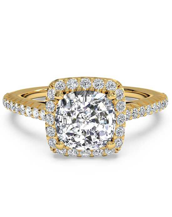 Ritani French-Set Halo Diamond Band Engagement Ring - in 18kt Yellow Gold (0.21 CTW) for a Cushion Center Stone Engagement Ring photo