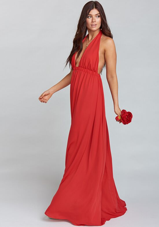 Show Me Your Mumu Luna Halter Dress - Lady In Red Crisp Halter Bridesmaid Dress