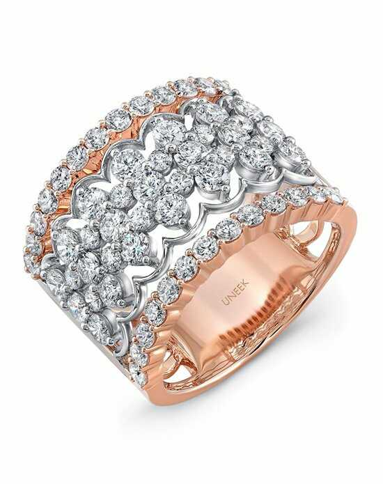 Uneek Fine Jewelry The Chantilly Open Lace Diamond Band/LVBW407RW Gold Wedding Ring