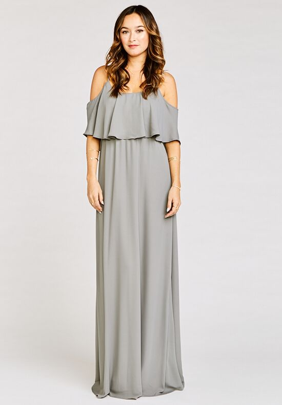 Show Me Your Mumu Caitlin Ruffle Maxi Dress - Soft Charcoal Crisp Scoop Bridesmaid Dress