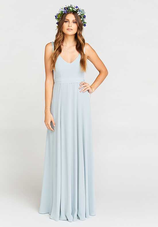Show Me Your Mumu Jenn Maxi Dress - Steel Blue Chiffon V-Neck Bridesmaid Dress