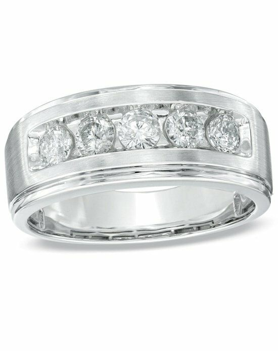 zales mens 1 ct tw diamond five stone band in 14k white gold 18895227 white - Zales Mens Wedding Rings