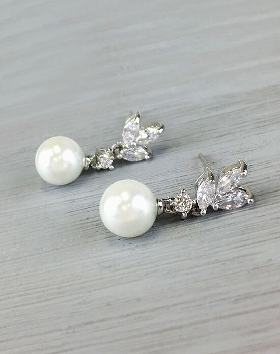 USABride Petite Pearl & CZ Floral Earrings JE-4072 Wedding Earring photo