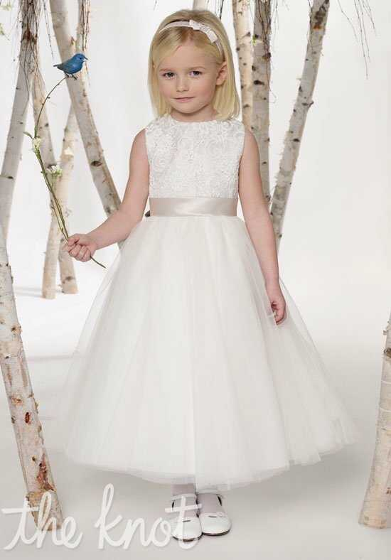 Joan Calabrese by Mon Cheri 211301 White, Ivory, Ivory/Oyster, or White/Claret Flower Girl Dress