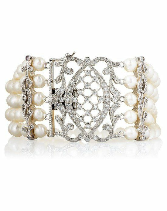 Thomas Laine Grace Freshwater Pearl Five Strand Ornate Clasp Bracelet Wedding Bracelet photo