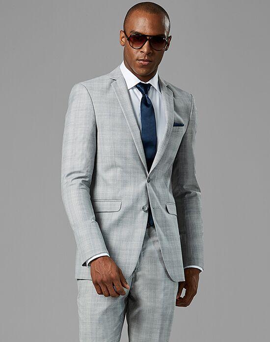 Generation Tux Light Gray Plaid Notch Lapel Suit Wedding Tuxedo ...