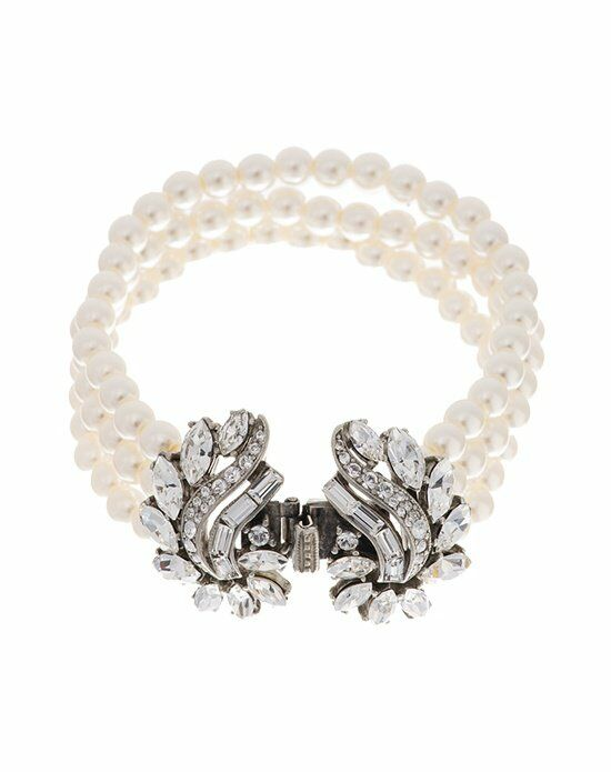 Thomas Laine Ben-Amun Crystal Garland and Pearl Bridal Bracelet Wedding Bracelet photo