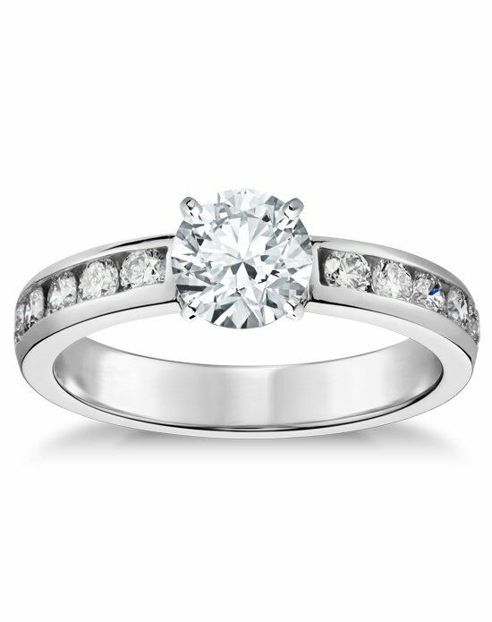 blue nile channelset diamond engagement ring wedding ring