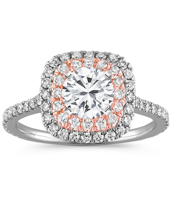 Shane Co Double Halo Diamond Engagement Ring in 14k Two Tone Gold