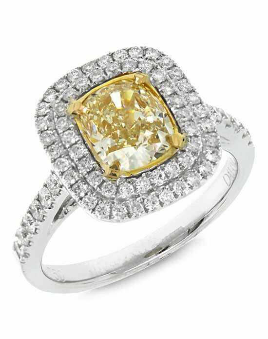 Allurez Customized Rings Halo Cushion Cut Fancy Yellow Diamond Engagement R