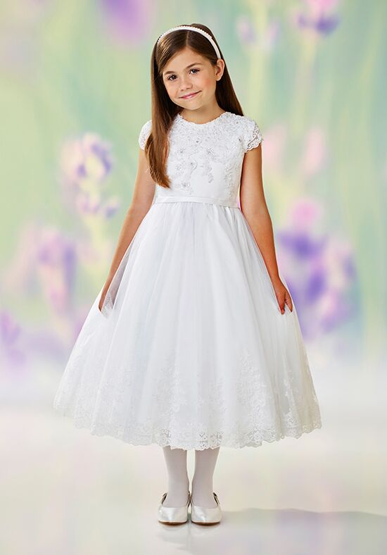 Joan Calabrese by Mon Cheri 118311 White Flower Girl Dress
