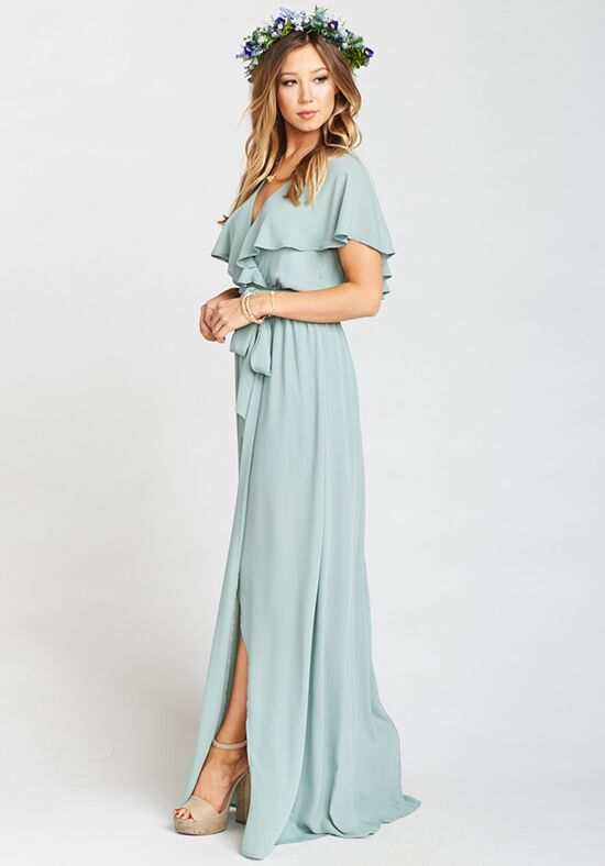 Show Me Your Mumu Audrey Maxi Dress - Silver Sage Crisp V-Neck Bridesmaid Dress