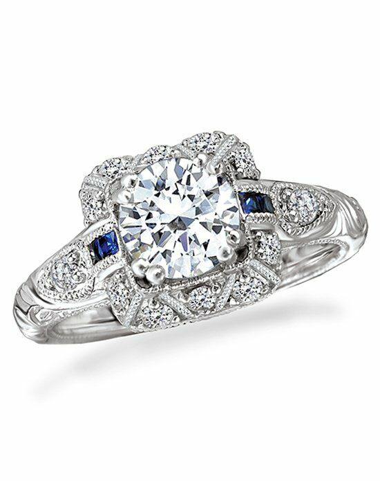 Romance Vintage Diamond And Shire Engagement Ring 117558 Palladium Platinum White Gold Wedding