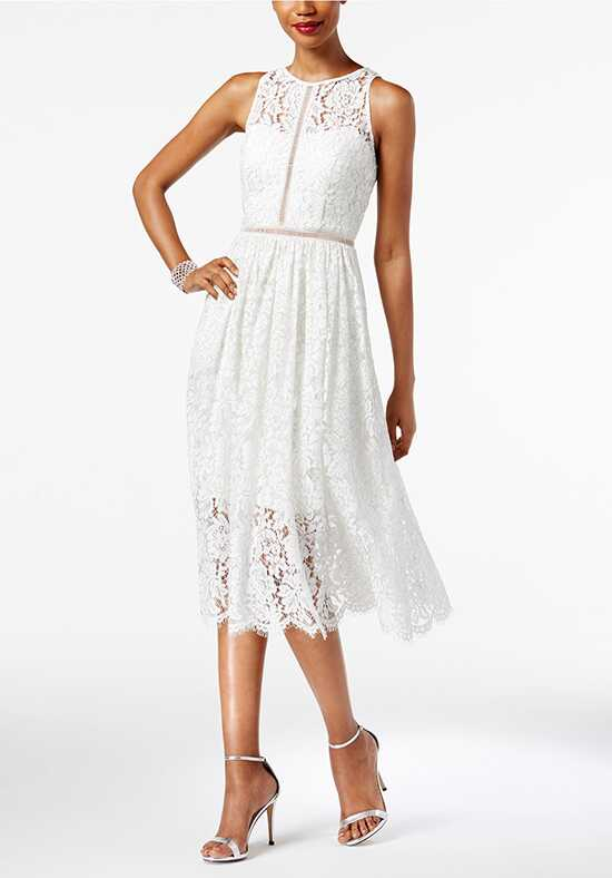 Adrianna Papell Wedding Dresses Adrianna Papell Illusion Lace Midi Dress Sheath Wedding Dress