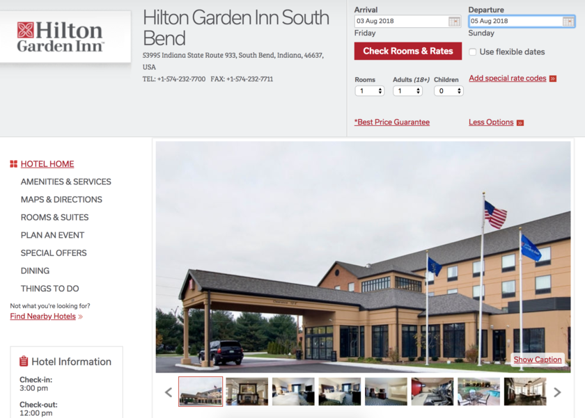 Hilton Garden Inn South Bend. 53995 IN 933, South Bend, IN 46637, USA  574 232 7700