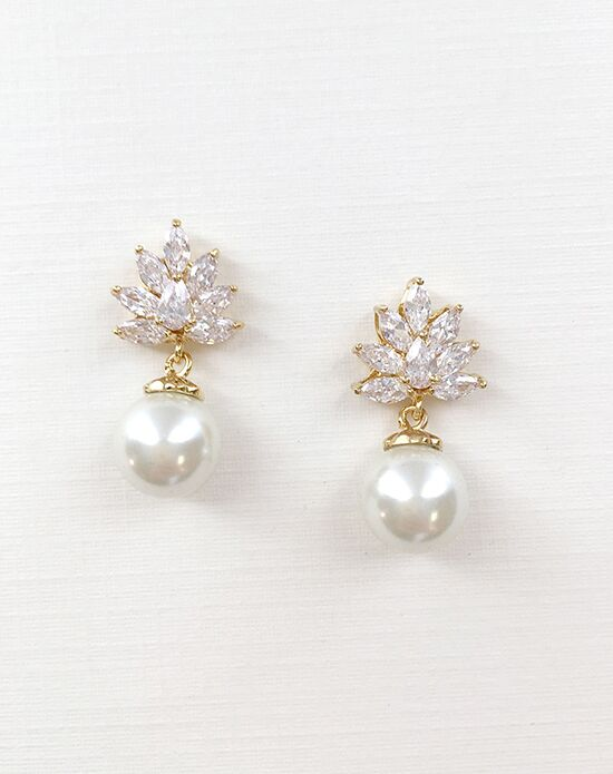 USABride Ava Pearl & CZ Gold Earrings JE-4064-G Wedding Earring photo