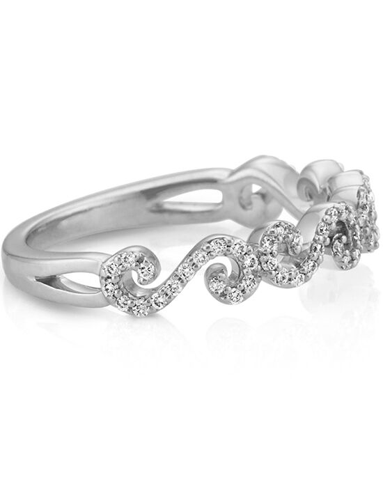 Round Diamond Swirl Wedding Band In 14k White Gold Ring