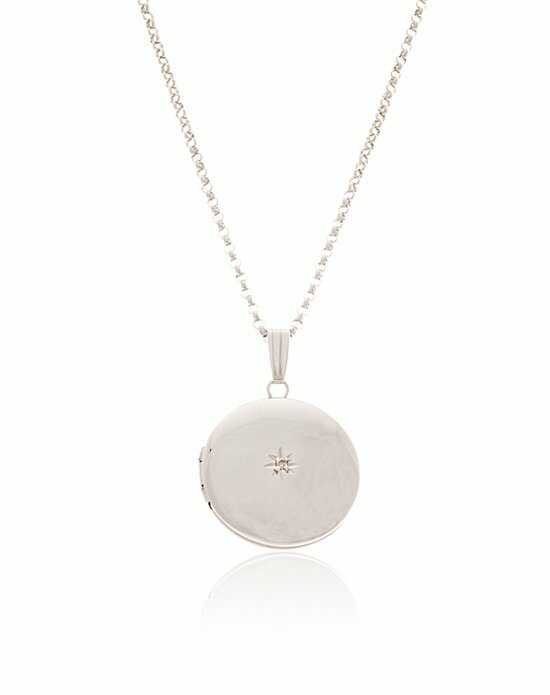 Thomas Laine Silver Round Diamond Locket Wedding Necklace photo