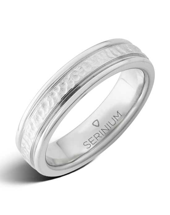 Serinium® Collection Cold Springs Slim — Hammered Center Serinium® Ring-RMSA002029 Serinium® Wedding Ring
