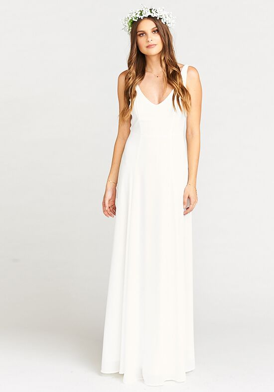 Show Me Your Mumu Jenn Maxi Dress - Ivory Crisp V-Neck Bridesmaid Dress