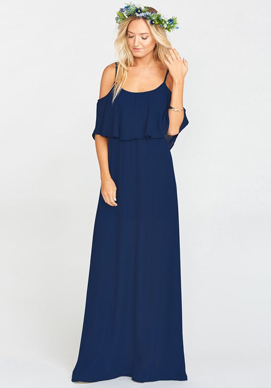 Show Me Your Mumu Caitlin Ruffle Maxi Dress - Rich Navy Crisp Scoop Bridesmaid Dress