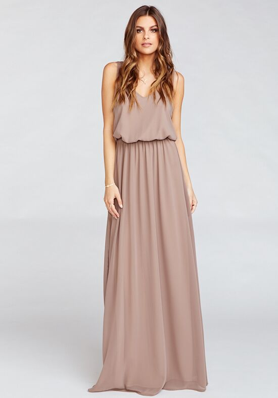 Show Me Your Mumu Kendall Maxi Dress - Dune Chiffon V-Neck Bridesmaid Dress