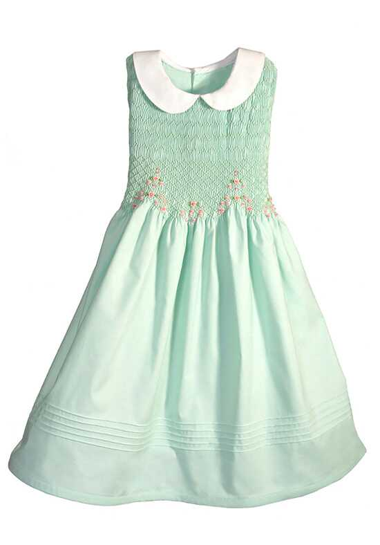 Isabel Garretón Hand Smocked Sleeveless Girls Dress Green Flower Girl Dress